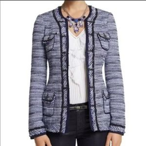 WHBM long navy tweed jacket beautiful accents